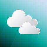 Designsprache-Wolkenform auf grün-blauem Hintergrund Stockfoto