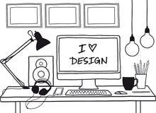 Designstudioåtlöje upp, vektor Arkivbild