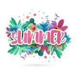 Designsymbol für Sommer Fahne mit Blume und Blatt für Sommerförderung Naturblumendekorations-Plan templat lizenzfreie abbildung