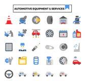 Designsymbolen för automatisk utrustning och för den tjänste- lägenheten ställde in stock illustrationer