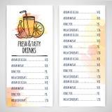 Designt szablonu napoju menu Układ ulotka sok i koktajl Akwarela wystrój wektor ilustracja wektor