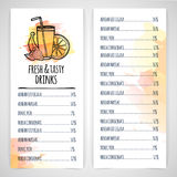 Designt template drink menu. Layout flyer of juice and coctail. Watercolor decor. Vector.  vector illustration