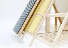 Designteckning av ett tak med tekniska detaljer - tolkning 3D Royaltyfria Foton