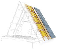Designteckning av ett tak med tekniska detaljer - tolkning 3D Royaltyfri Bild