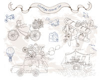 Designuppsättning med retro transportmedel vektor illustrationer