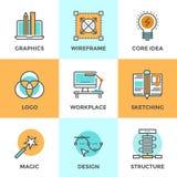 Designutvecklingslinje symbolsuppsättning Fotografering för Bildbyråer