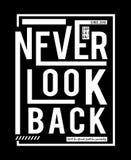 Designvektortypographie schauen nie zurück Lizenzfreie Stockfotos