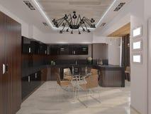 Designwohnzimmer mit warmen Farben Stockbilder