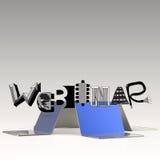 Designwort WEBINAR und Computer des Laptops 3d Lizenzfreies Stockbild