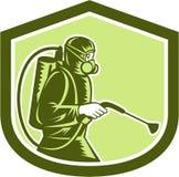 Desinfektör Spraying Shield Retro för plågakontroll Royaltyfri Foto