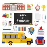Desing Coloful плоский с комплектом неподвижных элементов, школой и иллюстрация штока