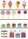 Desing elements of sweets. 20 design elements on sweets and selebration theme Royalty Free Stock Photography