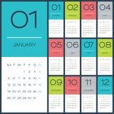 Desing Schablone des Vektors des Kalenders 2015 Lizenzfreie Stockfotos