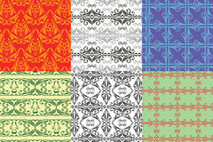 6 desing vintage seamless pattern Stock Images