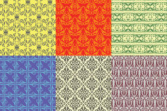 6 desing vintage seamless pattern Stock Photography