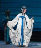 """Desintegração de grito- do ato da mulher uma sétima do  branco de Opera""""Madame Snake†das famílias-Kunqu imagens de stock"""