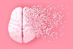 Desintegratie van Digitaal Brain On Pink Background Royalty-vrije Illustratie