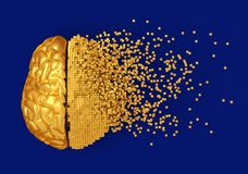 Desintegratie van Gouden Digitaal Brain On Blue Background stock illustratie