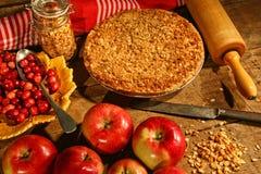Desintegre a torta com maçãs e airelas Imagem de Stock