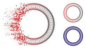 Desintegrera den Dot Halftone Double Circle Frame symbolen royaltyfri illustrationer