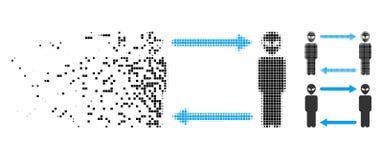 Desintegrera den prickiga rastrerade främmande utbytespilsymbolen royaltyfri illustrationer