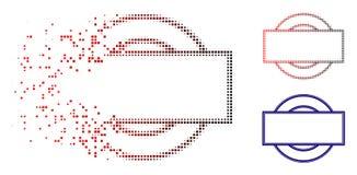 Desintegrera symbolen för Dot Halftone Double Round And rektangelram stock illustrationer