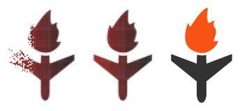 Desintegrerend Dot Halftone Fired Aircraft Icon vector illustratie