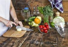 Desintoxicação, salada vegetal, jovem mulher, cozinhando, legumes frescos, Imagens de Stock