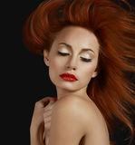 Desirable Redhead woman with Red Lips Stock Photos