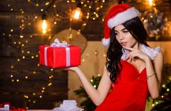 Free Desirable Santa Girl. Gift For Adults. Sexy Gift. Sex Shop. Attractive Girl In Erotic Lingerie Hold Gift Box. Woman With Royalty Free Stock Photography - 167648657