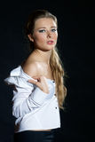 Desire. Young pretty female with naked shoulders Royalty Free Stock Photos