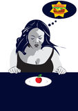 Desire. Illustration of a women on the table, looking at the apple, and thinking on hamburger Royalty Free Stock Photos