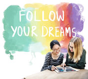Desire Inspire Goals Follow Your Dreams Concept. People Desire Inspire Goals Follow Your Dreams stock photography