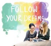 Desire Inspire Goals Follow Your träumt Konzept stockfotografie