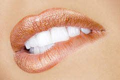 Desire sexy lips. Bebautiful attractive make up mouth, perfect teeth and sensual lips Stock Photography