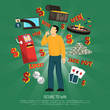 Desire To Win Concept. With gambling and casino symbols flat vector illustration Stock Images
