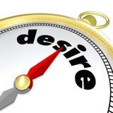 Desire Word Compass Pointing aan Hartstocht wil Behoeften stock illustratie