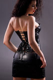Desired brunette woman posing in leather corset Stock Photos
