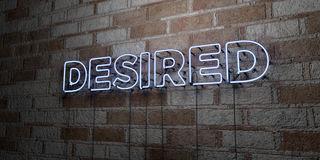 DESIRED - Glowing Neon Sign on stonework wall - 3D rendered royalty free stock illustration Stock Photography