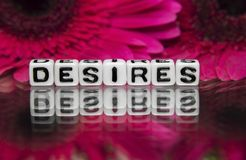 Desires  text message Stock Photo