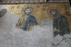 The Deësis mosaic in Hagia Sofia mosque, Istanbul Royalty Free Stock Photography