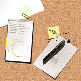 Desk. A vector desk top with pen pad and notes Royalty Free Stock Photos