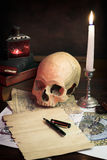 The desk of  an alchemist Royalty Free Stock Photography
