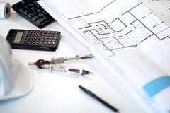 Desk of an architect Stock Photography