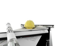 Desk of architect stock images