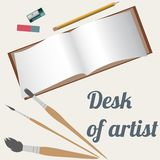 Desk of artist, drawing accessories Stock Photography
