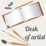 Desk of artist, drawing accessories. Flat set Royalty Free Illustration