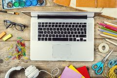 Desk of an artist Royalty Free Stock Image