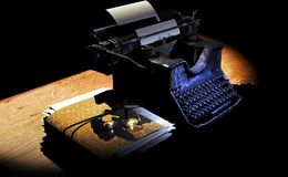 Author`s Manuscript and Typewriter. Desk of an author, with his typewriter, his manuscript, and glasses Stock Image