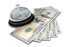 Desk Bell with Money Stock Images
